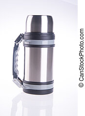 Thermo, Thermo flask on background - Thermo flask on the...