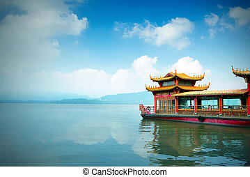 China Hangzhou West Lake - Traditional ship at the Xihu West...
