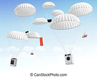Concept of big sales. Technique on the parachute falling in...
