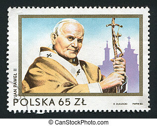 postmark - POLAND - CIRCA 1983: Second Visit of Pope John...