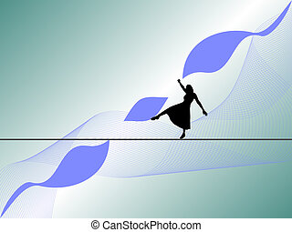 tightrope walker - women silhouette with blue background...