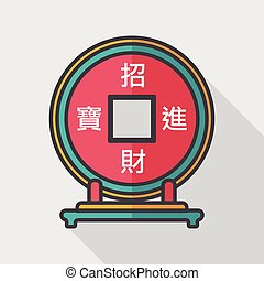 Chinese New Year flat icon with long shadow,eps10, Chinese decoration, Chinese words mean wish you can be wealthy and prosperity.