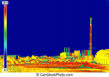 Infrared image Chimney of energy station - Infrared...