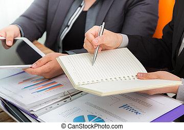 reunião, negócio, escritório, pessoas