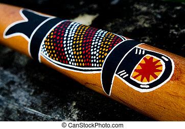 Indigenous Australian art on Didgeridoo - QUEENSLAND, AUS -...