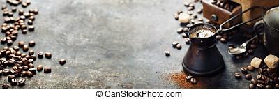 café, viejo, olla