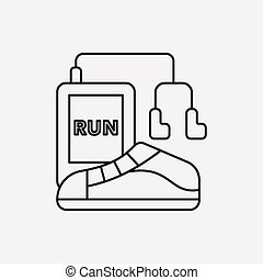 running shoes line icon