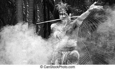Yugambeh Aboriginal warrior preform Aboriginal martial art...