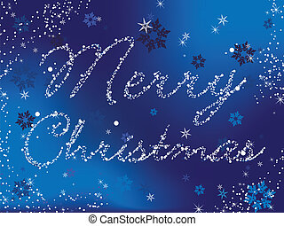 Merry Christmas Blue - Merry Christmas Vector Image written...