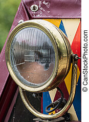 Headlight on a Narrow boat on the Kennet and Avon Canal in...