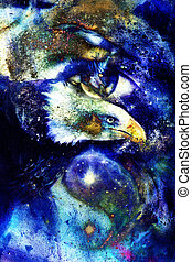 painting eagle with woman eye on abstract background and Yin Yang Symbol in space with stars. Wings to fly, USA Symbols Freedom