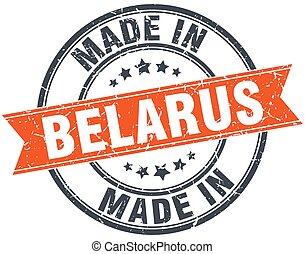 Belarus orange grunge ribbon stamp on white