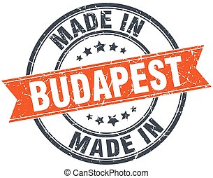 Budapest orange grunge ribbon stamp on white