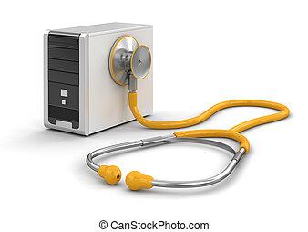 Computer and stethoscope - Computer and stethoscope. Image...