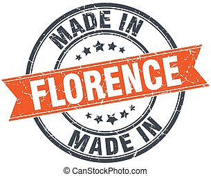 Florence orange grunge ribbon stamp on white