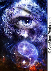 blue women eye , with space and stars, with simbol yin yang, abstract painting collage.