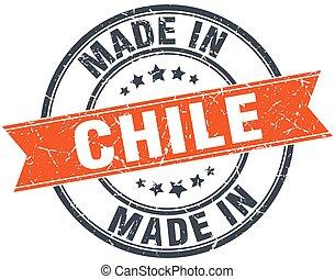 Chile orange grunge ribbon stamp on white