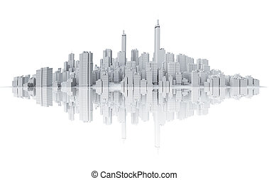 Skyline with reflection - COmputer generated image of the...