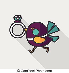wedding bird with diamond ring flat icon with long shadow,eps10
