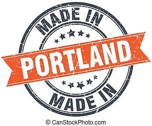 Portland orange grunge ribbon stamp on white