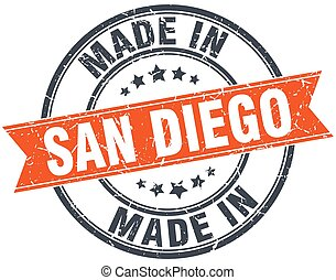 San Diego orange grunge ribbon stamp on white