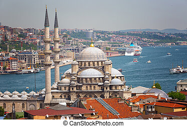 Beautiful view of Suleymaniye Mosque and Sea of Marmara,...