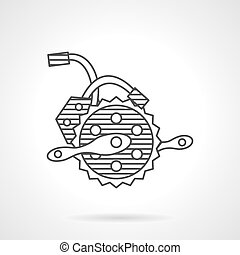 Electric bike crankset vector icon - Thin line design vector...