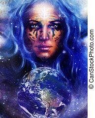 tatuagem, Deusa, mulher, espaço, luz, rosto, estrelas, terra
