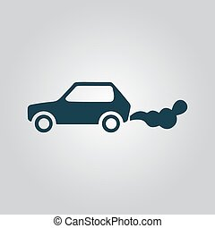 Car emits carbon dioxide. Flat web icon or sign isolated on...