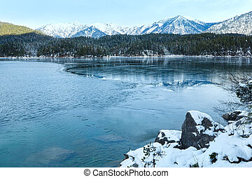 Eibsee lake winter view. - Eibsee lake winter view, Bavaria,...