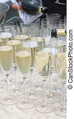 Sparkling champagne in glass glasses - did not recognize the...
