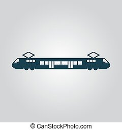 Suburban electric train Flat web icon or sign isolated on...