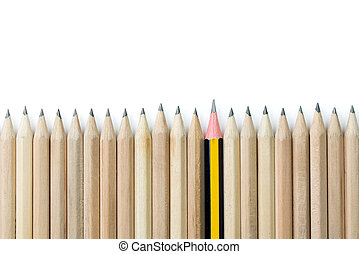 Outstanding - One pencil standing out from the row of brown...