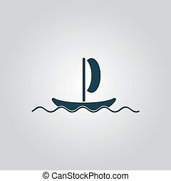 yachts - Simple yachts. Flat web icon or sign isolated on...