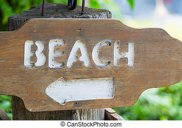 Beach Access wood Sign