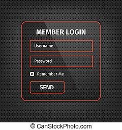 red member login ui on black background