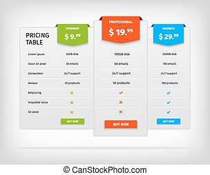 Pricing table template comparison chart for business -...