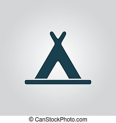 wigwam icon - Wigwam Flat web icon or sign isolated on grey...