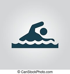 Swimming sign - Swimming Flat web icon or sign isolated on...