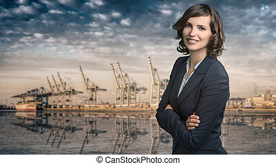 Attractive businesswoman with curly brown hair