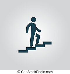 Man on Stairs going up symbol, vector - Man on Stairs going...