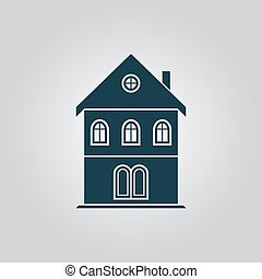 house icon - Simple old house. Flat web icon or sign...