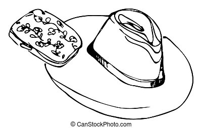 lady's hat and female clutch - black and white vector sketch...
