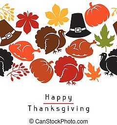 Happy Thanksgiving Day seamless pattern with holiday...