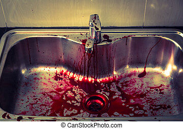 Kitchen sink with blood for halloween ( Filtered image...
