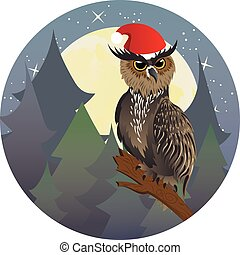 Christmas Owl - Cartoon great horned owl on a tree branch in...
