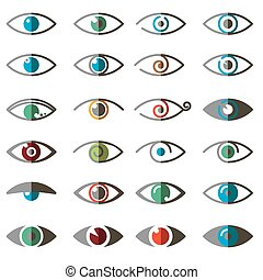Collection of eyes icons and symbol