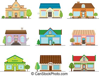 Stores and shops buildings. Business street retail,...