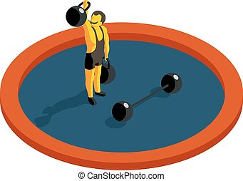 Strongman lifting weight. Flat 3d isometric vector. Strength...