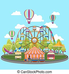 Carousel in flat design. Park circus, amusement and...